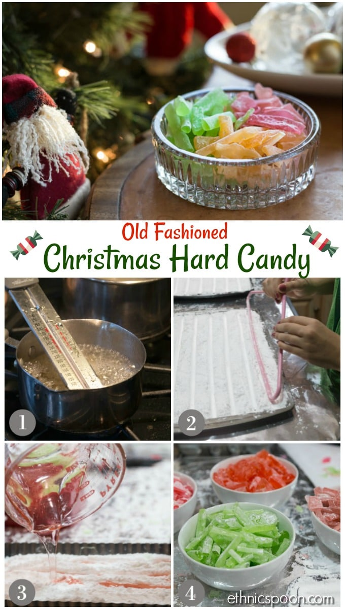 Delicious, old fashioned hard candy that is easy to make and a perfect gift. Choose your colors and flavors. Ready to make something unique this holiday? | ethnicspoon.com #oldfashionedcandy #homemadehardcandy #diycandy