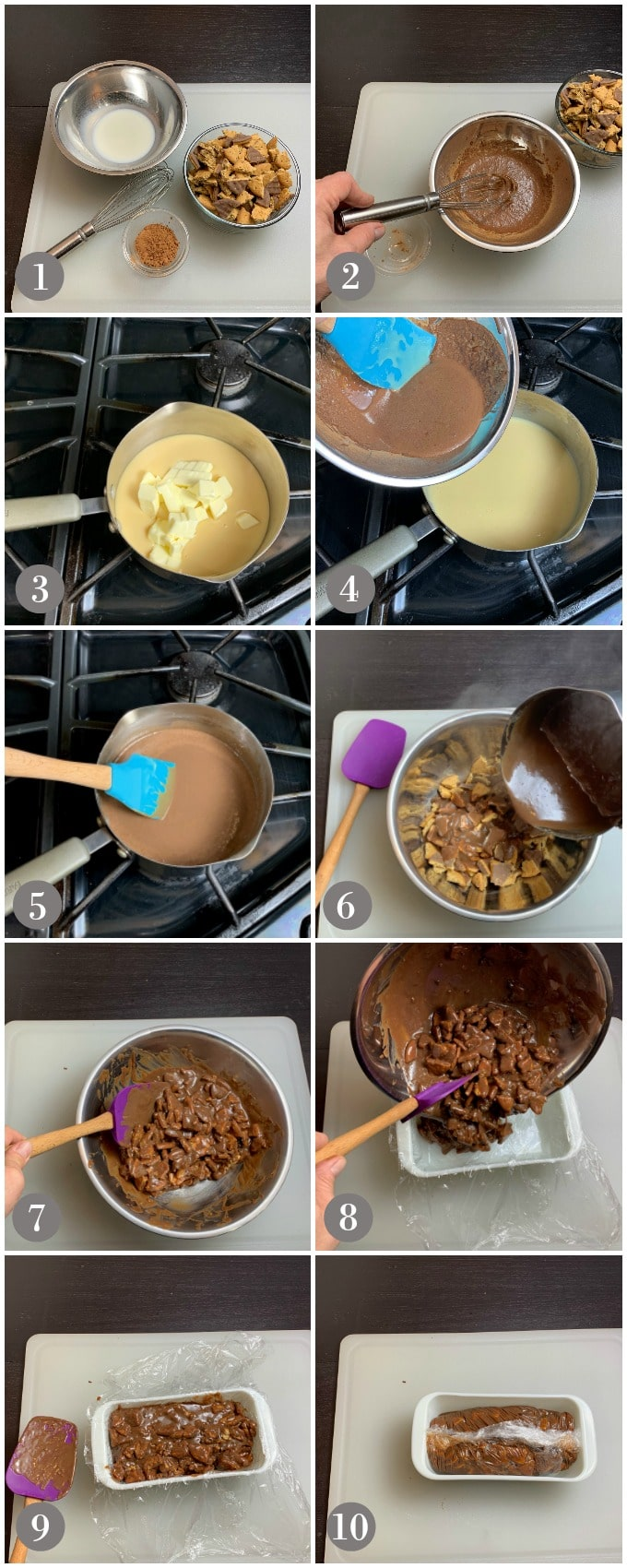 Collage of photos showing a bowl of crumbled digestive cookies and other ingredients to make tinginys cookies.