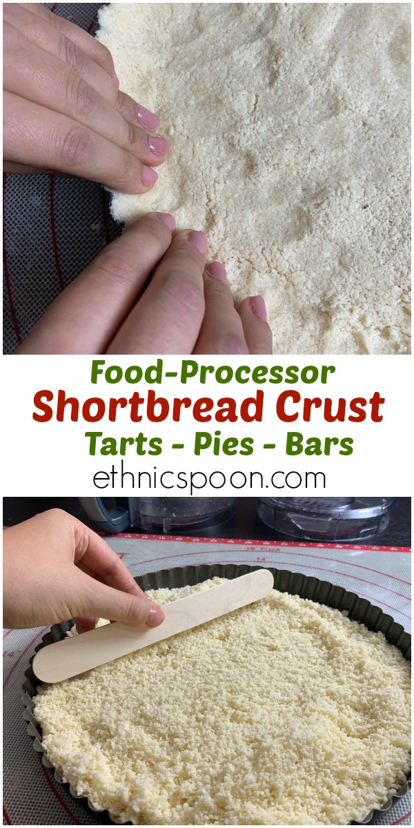 Collage of photos showing shortbread crust pressing into tart pan.