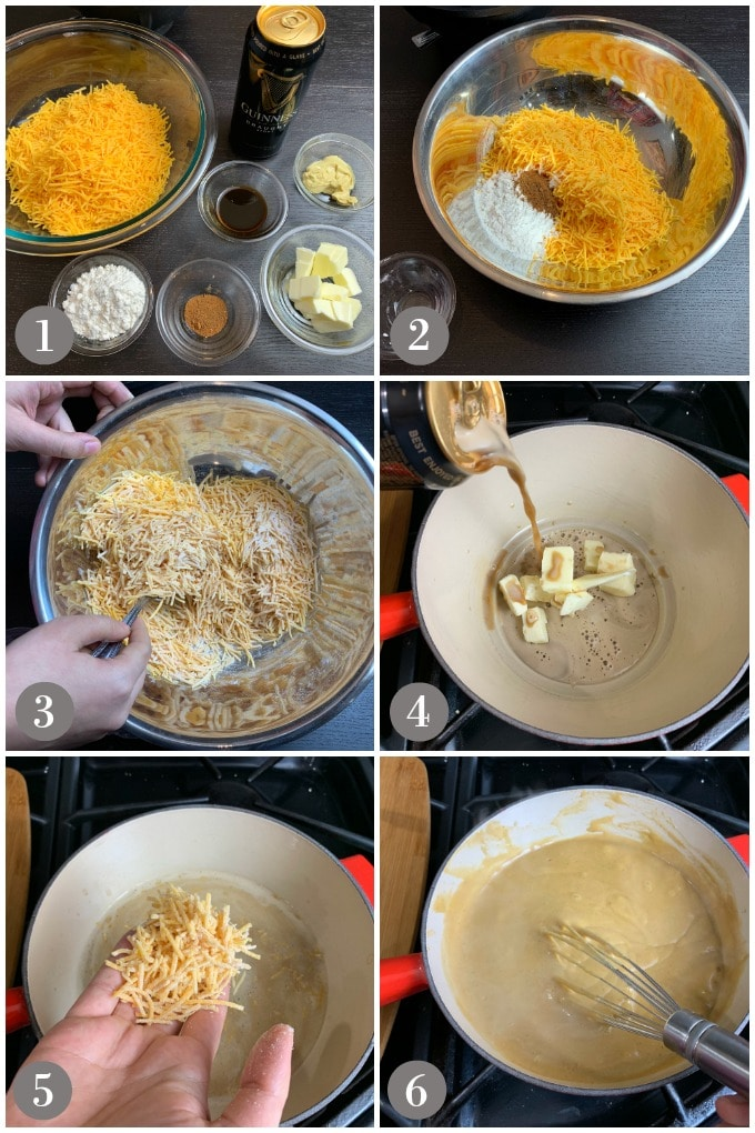 A collage of photos showing steps to make Guinness cheddar fondue.