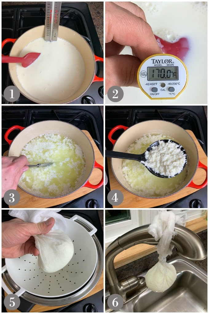A collage of photos showing steps to make queso fresco in a red pot and then draining cheese curds in a cheese cloth.