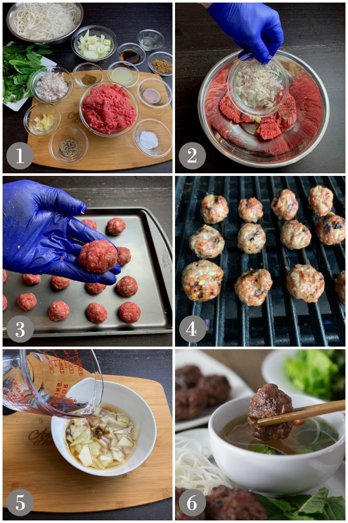 A collage of photos showing step to make the Vietnamese dish bun cha from ground pork and spices.