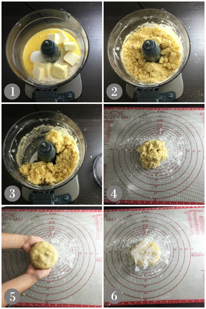 A collage of photos showing steps to make the crust for blueberry crostata.