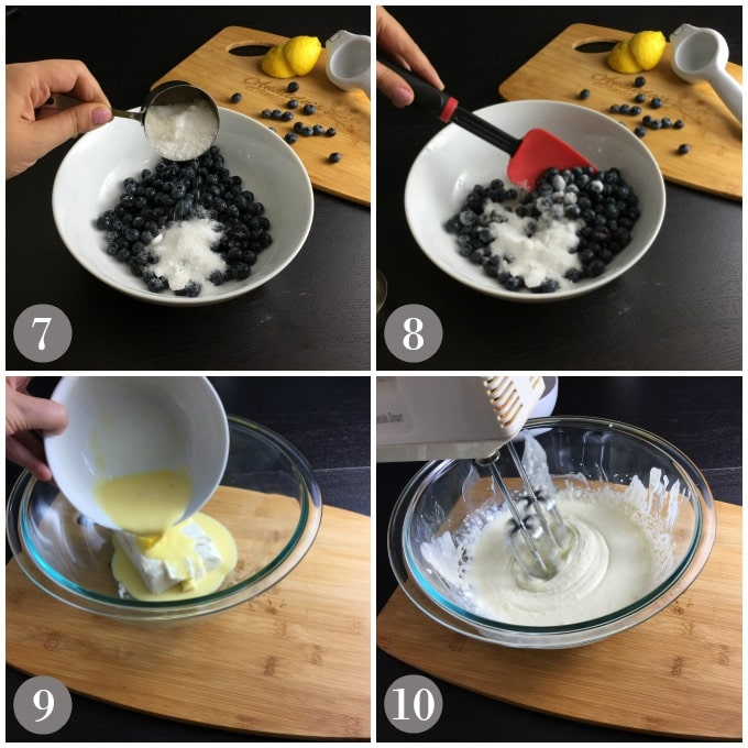 A collage of photos show the steps to make the filling for blueberry crostata.