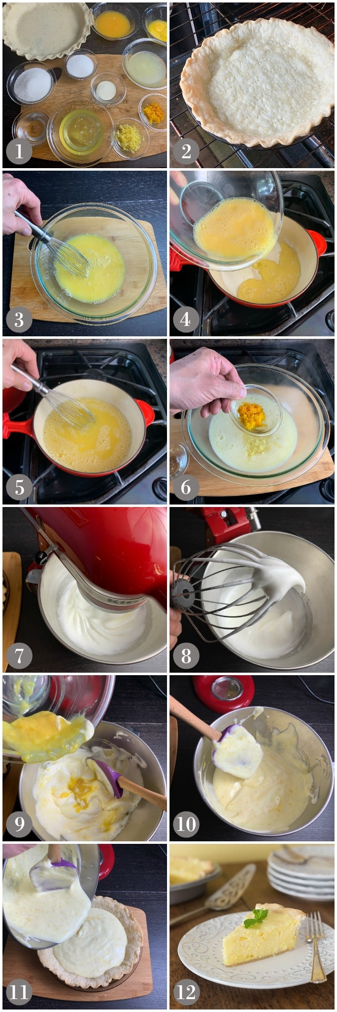 A collage of photos showing steps to make orange and lemon chiffon pie with a stand mixer.