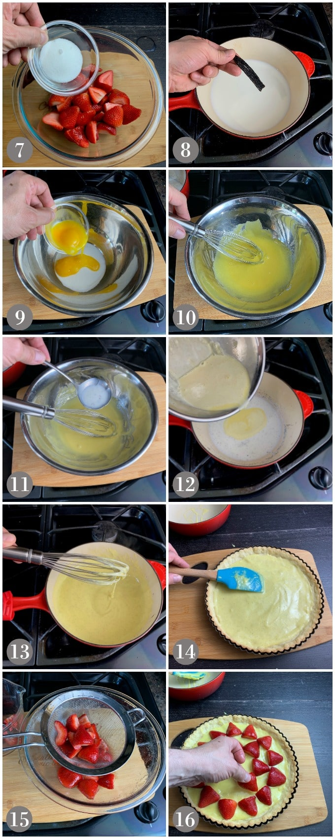 A collage of photos showing steps to make vanilla custard and filling it into a tart shell with strawberries on top.