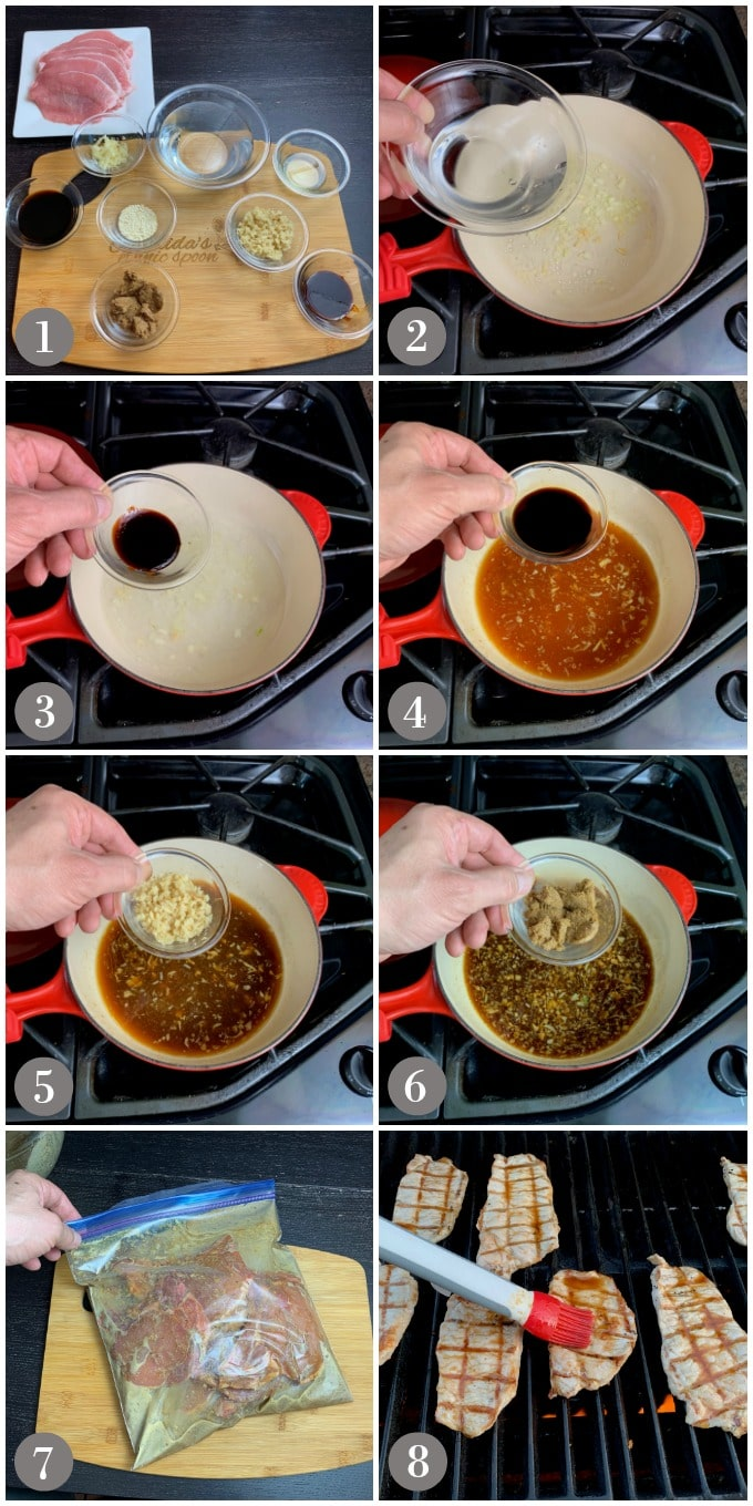A collage of photos showing steps to make Korean BBQ sauce and marinating them grilling pork chops.