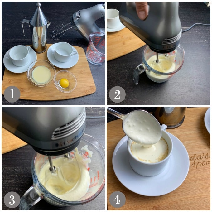 A collage of photos showing the steps to make Vietnamese egg coffee with sweetened condensed milk, egg yolk, espresso and whipping.