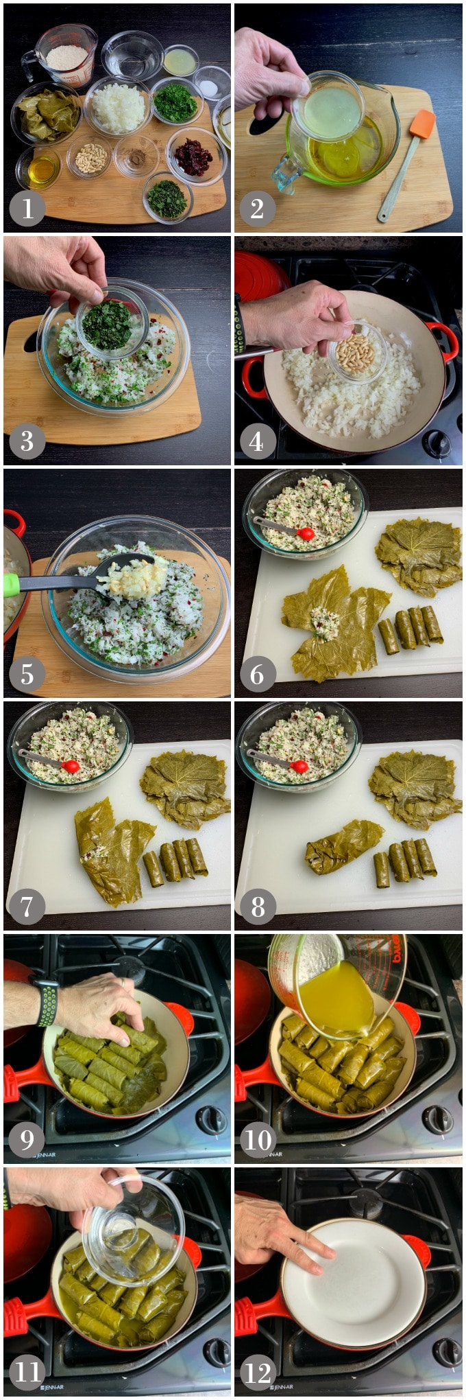 A collage of photos showing the steps to make dolmas in a pan with rice filling.
