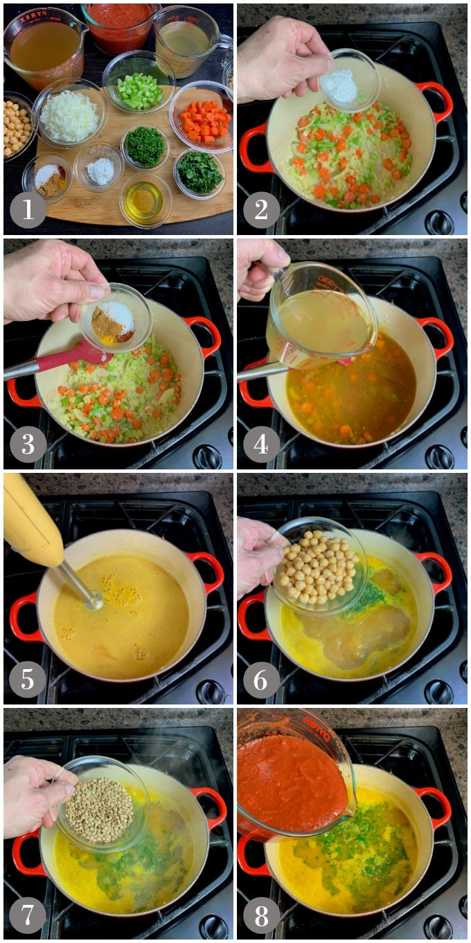 A collage of photos showing the ingredients and a dutch oven with steps to make Moroccan harira chickpea and lentil soup.