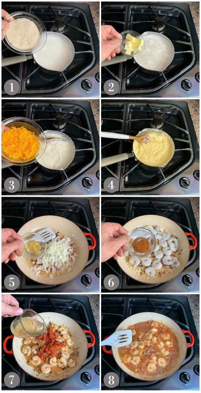 A collage of photos showing steps to make shrimp and grits in two pans on the stove.