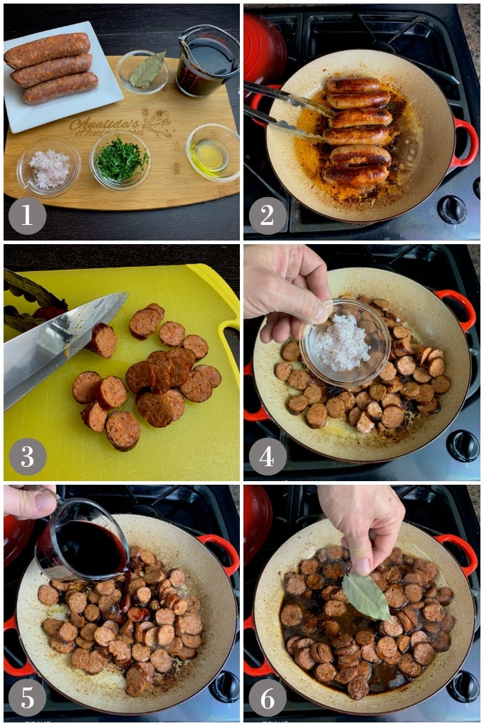 A collage of photos showing steps to make Spanish style chorizo in wine sauce in a skillet.