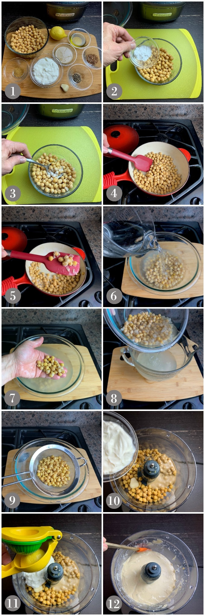 A collage of photos showing steps to make hummus in a food processor.