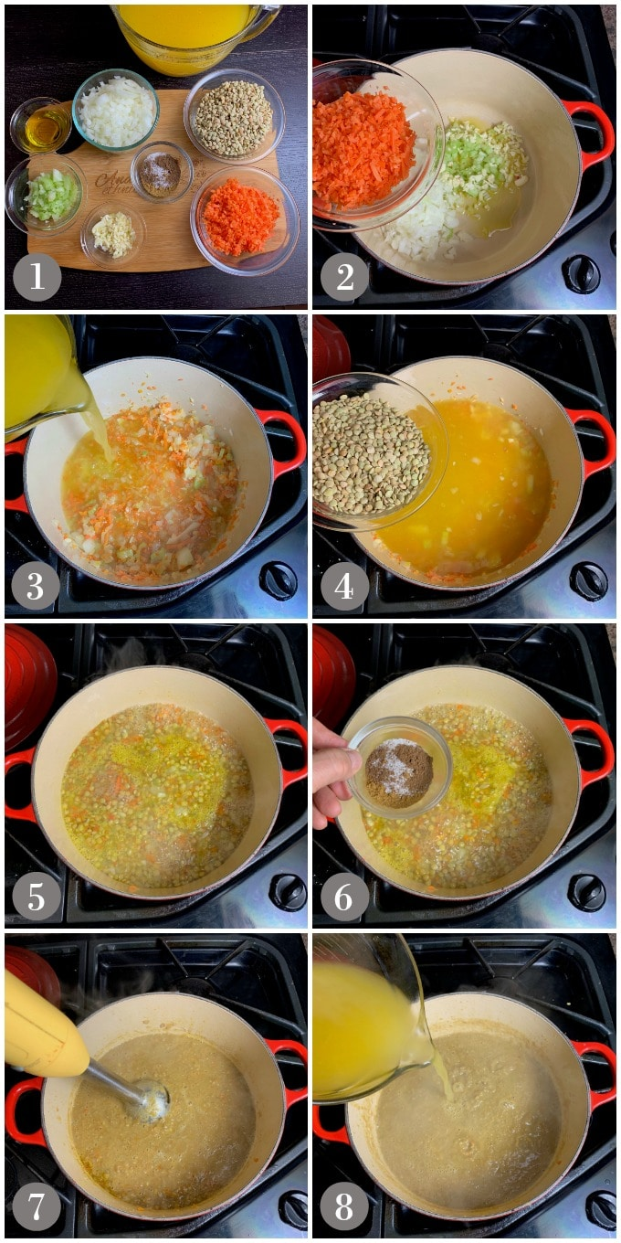 A collage of photos showing the ingredients and the steps to make Middle Eastern lentil soup in a soup pot.