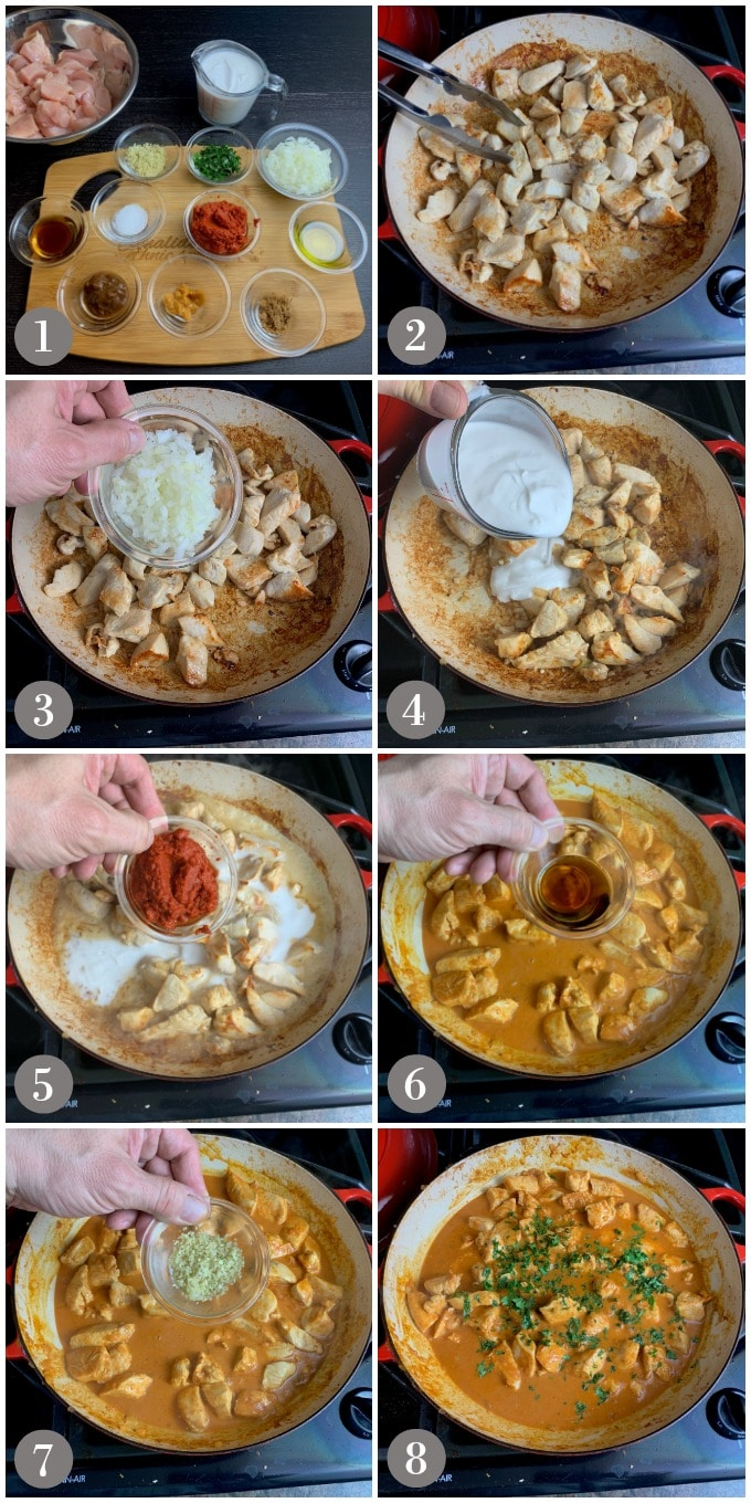 A collage of photos showing steps to make Thai red curry chicken in a pan on a stovetop.