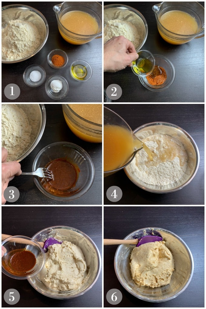 A collage of photos showing the steps to make the masa dough for pork tamales in a large metal bowl.