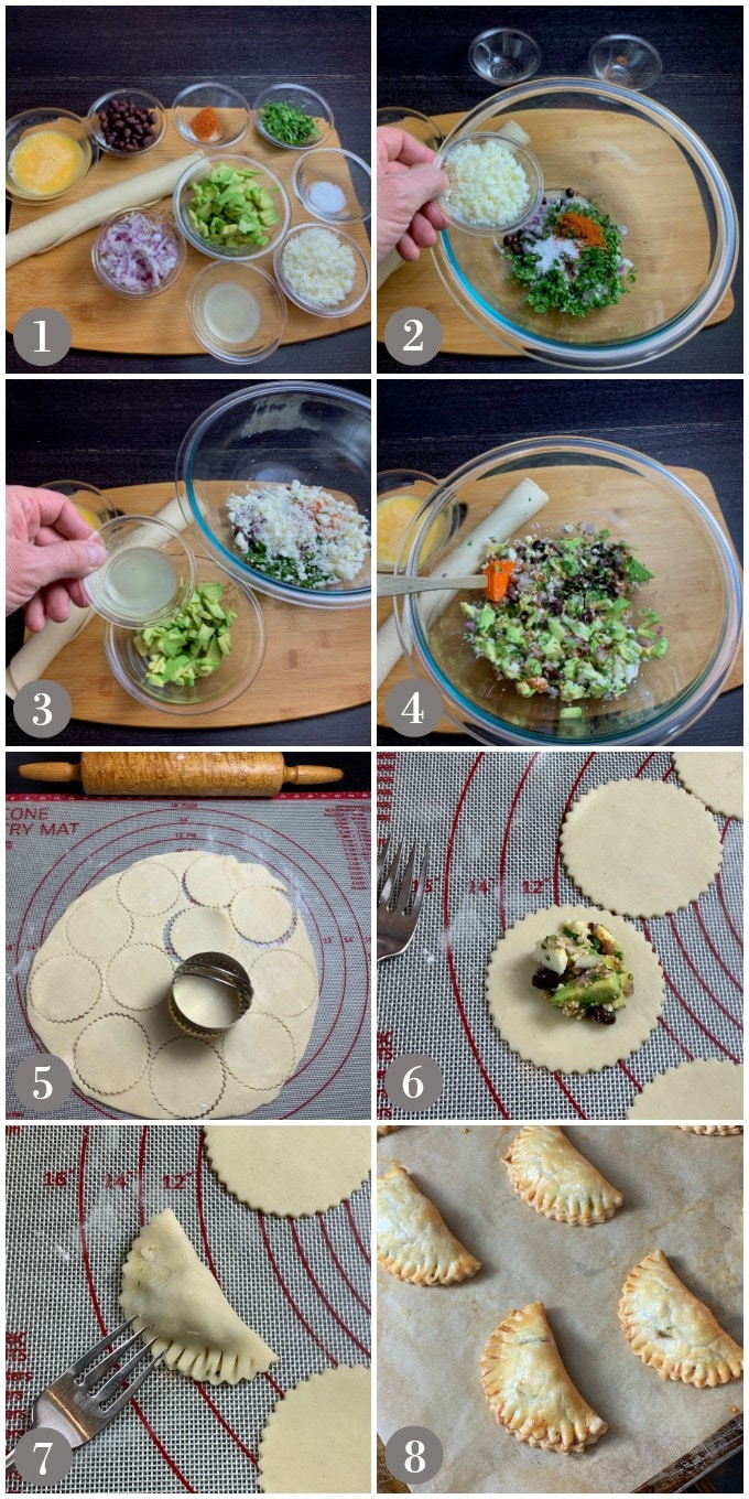 A collage of photos showing the ingredients and steps to make avocado, black bean, queso fresco empanadas.