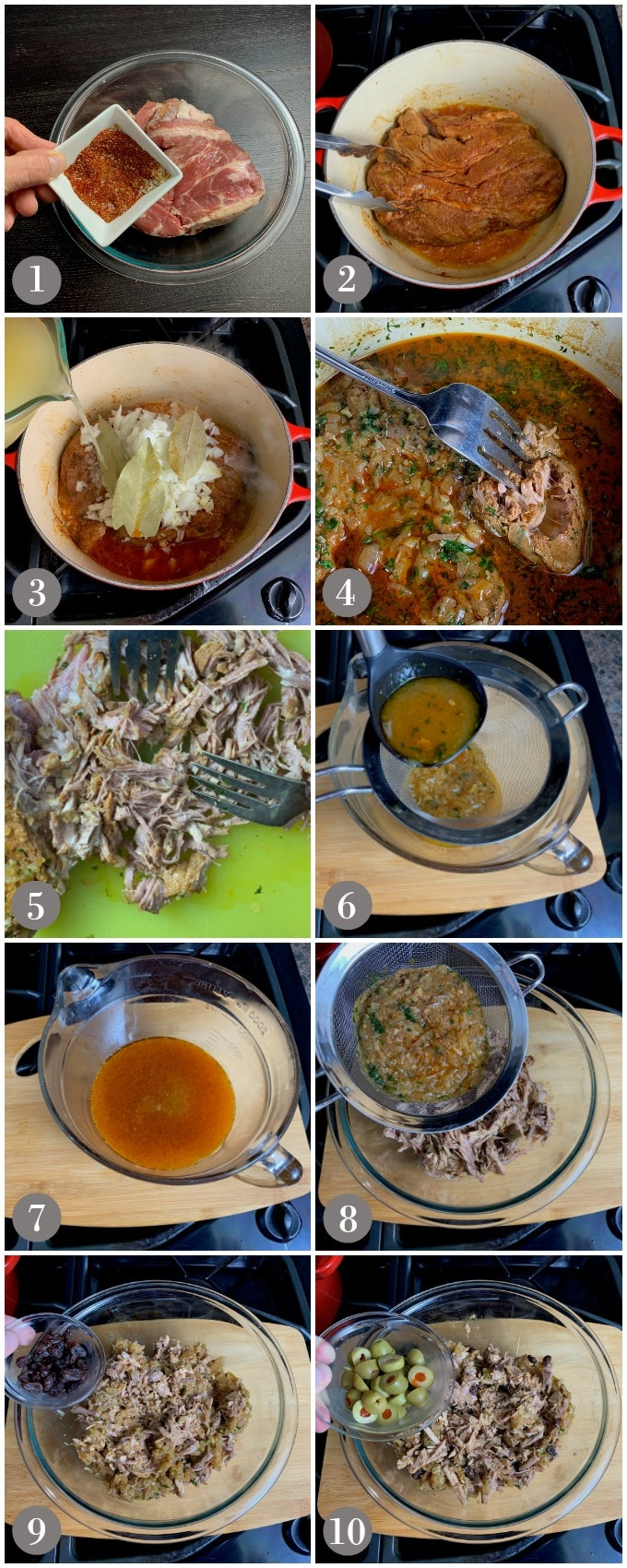 A collage of photos showing the steps to make the filling for pork tamales in a pot on the stove.