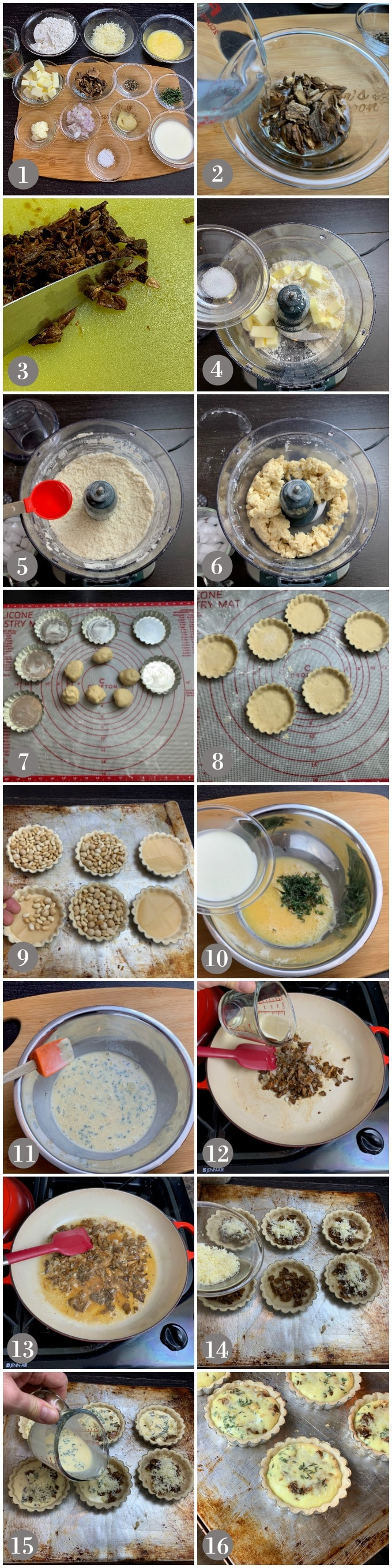 A collage of photos showing steps to make the dough, filling and bake wild mushroom and gruyere mini quiches.