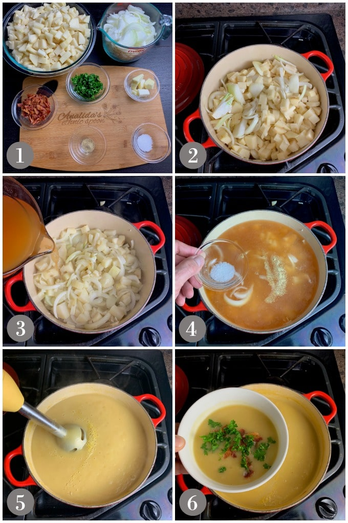 A collage of photos showing step to make Irish potato soup in a pot on the stove.