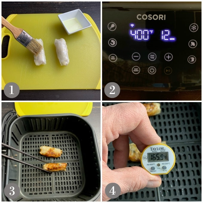 A collage of photos showing the cooking of Vietnamese spring rolls in an air fryer.