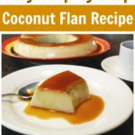A photo of coconut flan on a white plate.