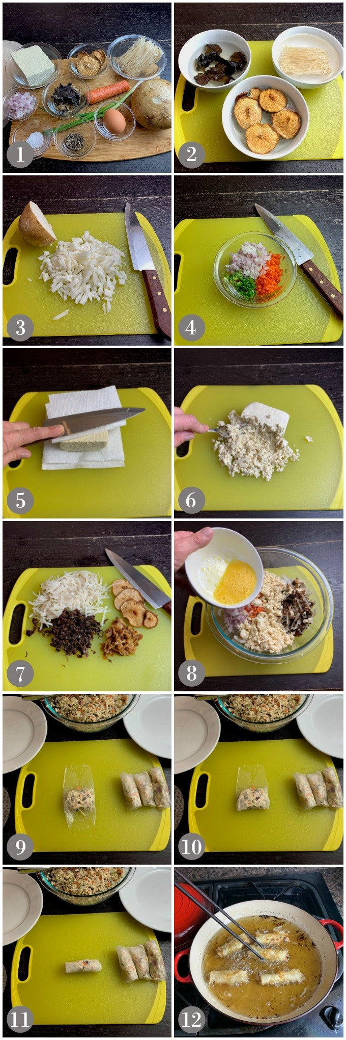 A collage of photos showing the ingredients and steps to make Vietnamese spring rolls fried in a pan with oil.