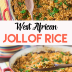 A collage of photos showing a red pan with West African jollof rice.