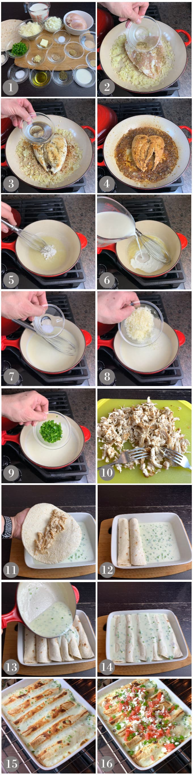 A collage of photos showing the ingredients and steps to make chicken enchiladas with jalapeño white sauce.
