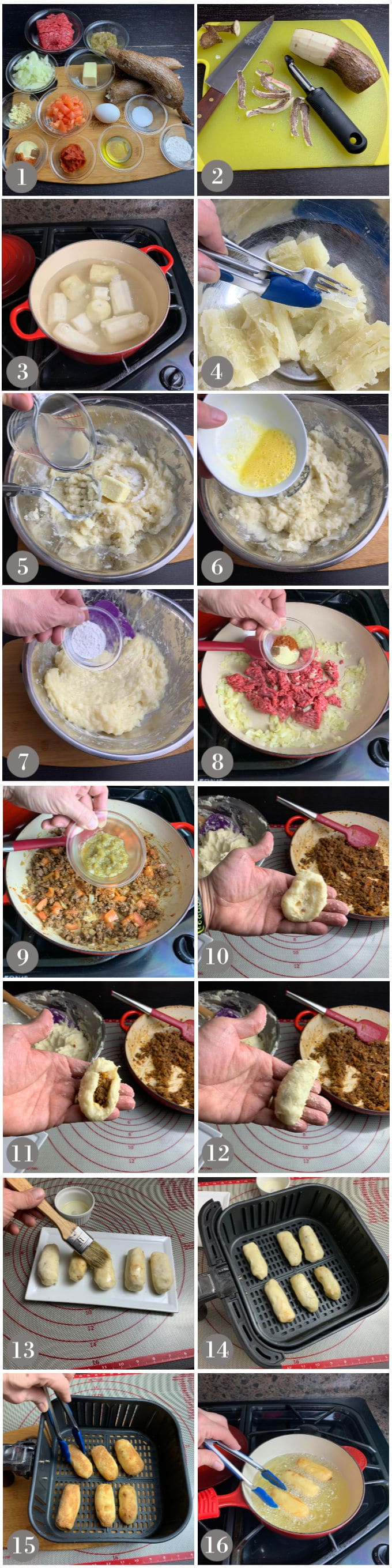 A collage of photos showing the steps to make Panamanian yuca fritters - carimañolas.