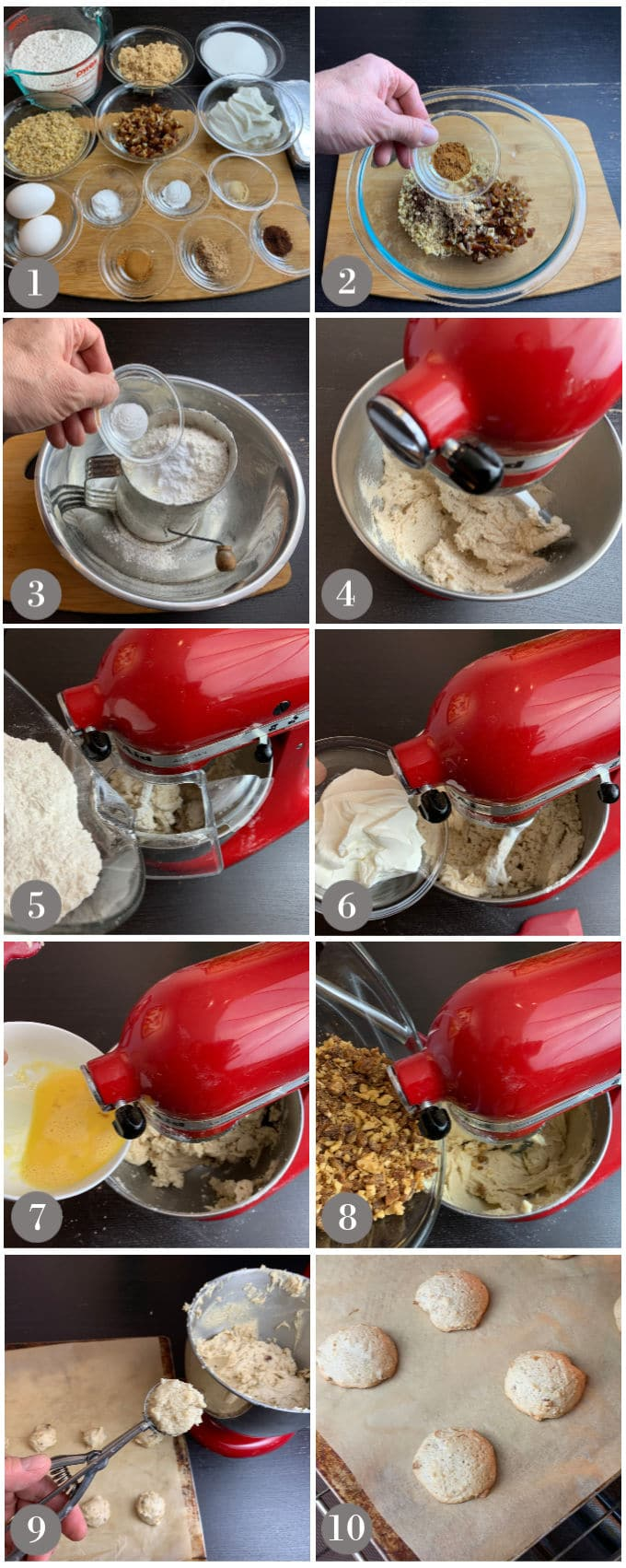 A collage of photos showing the ingredients and step to make hermit cookies with a stand mixer then baked in the oven.