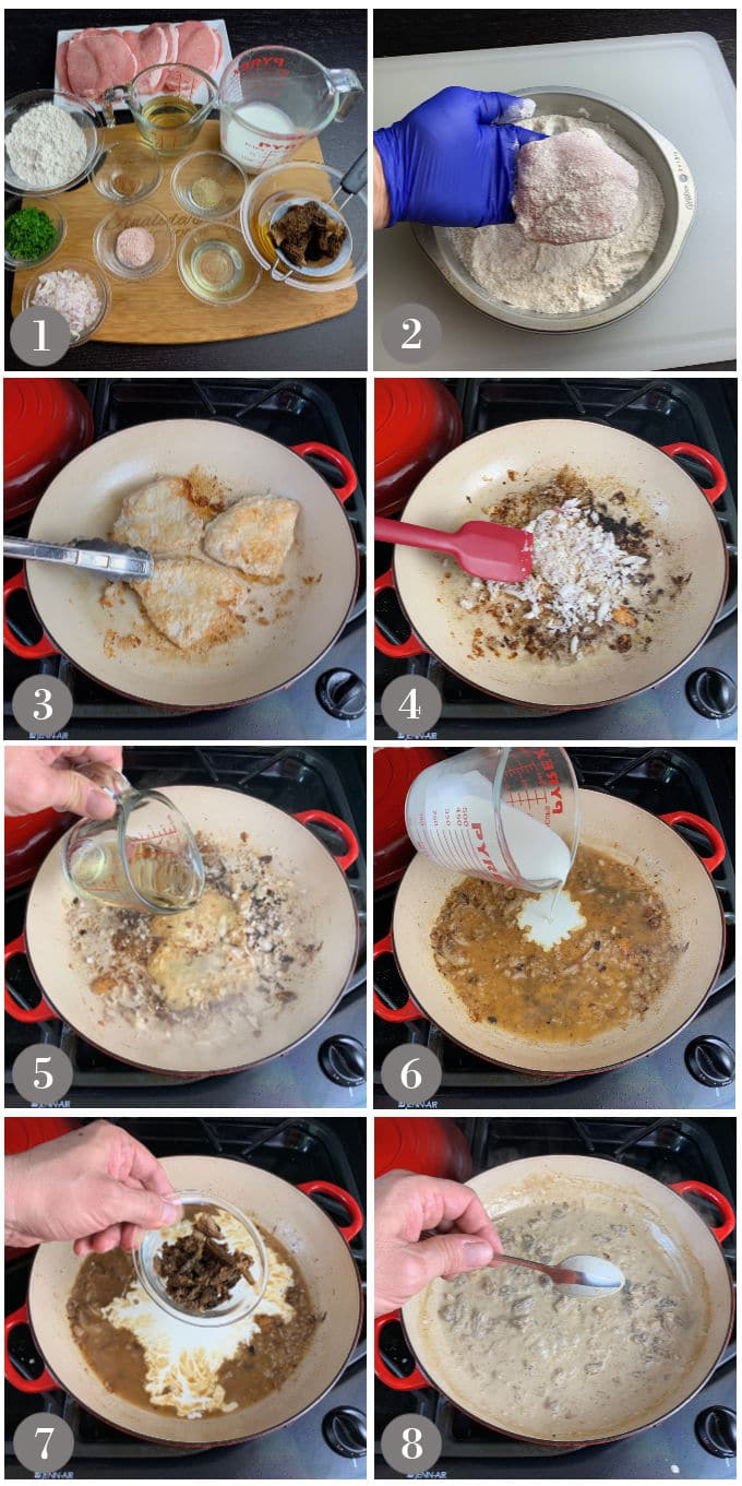 A collage of photos showing the ingredients and steps to make pork chops with morel mushroom cream sauce.