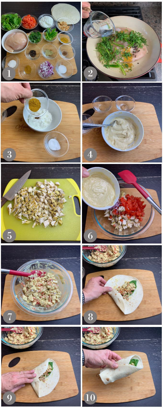 A collage of photos showing the steps to make creamy chicken curry wraps.