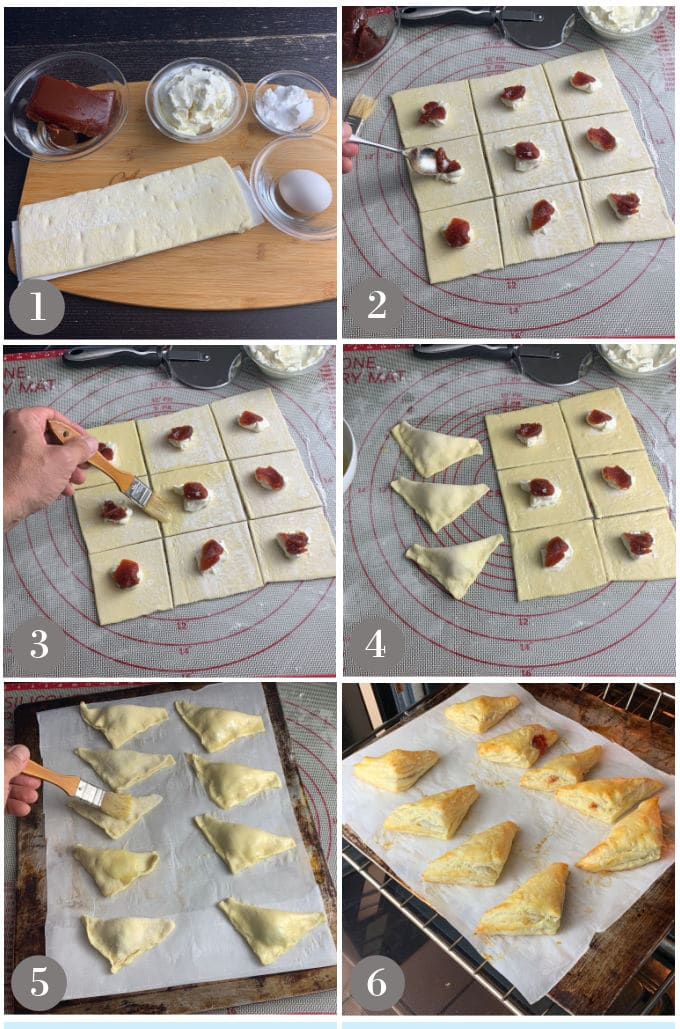 Steps to make pastelitos de guava.