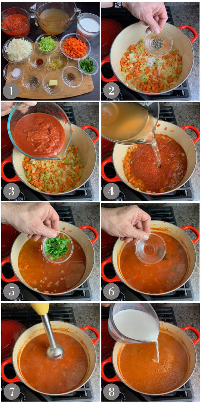 A collage of photos showing the steps to make to tomato basil bisque in a Dutch oven on the stove.