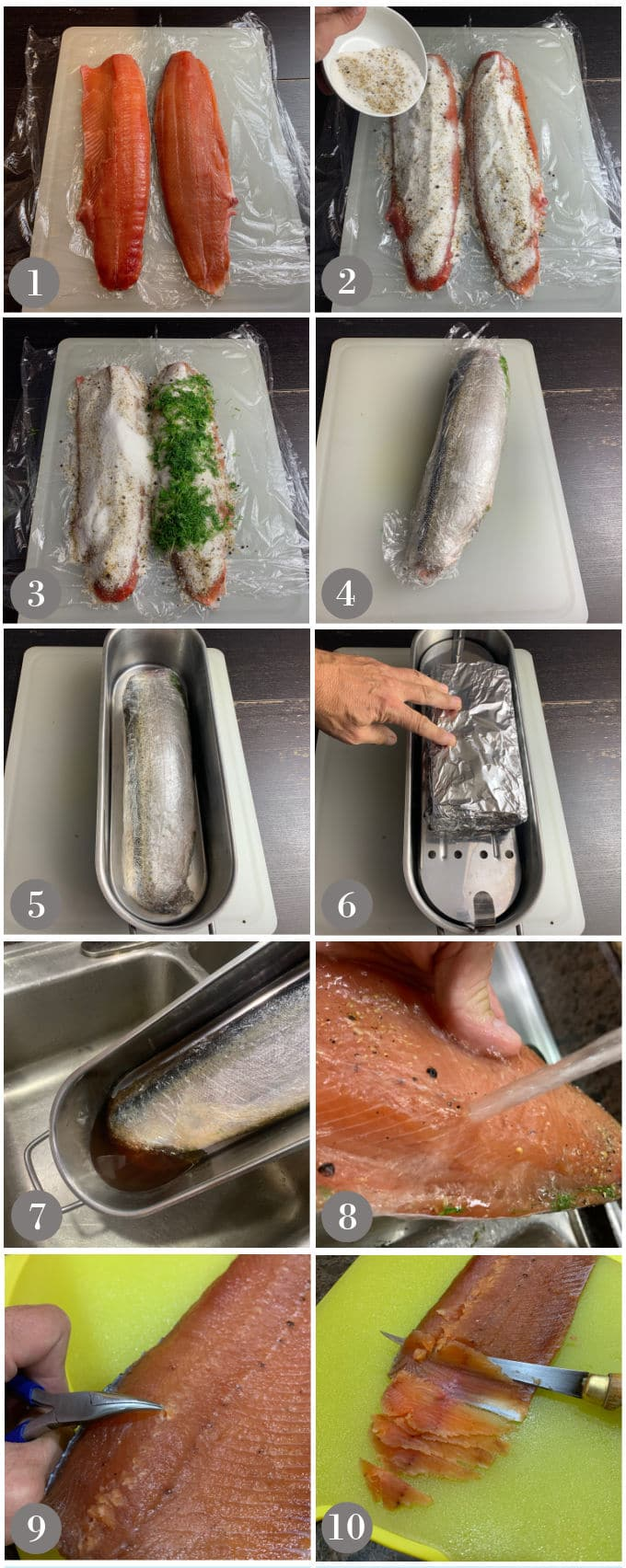 A collage of photos showing the steps to make homemade salt cured salmon or gravlax.