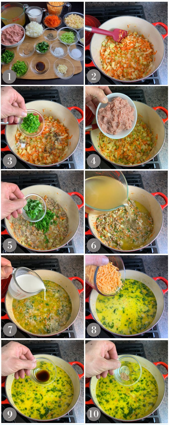 A collage of photos showing the ingredients and steps to make turkey burger soup in a soup pot in a stove.