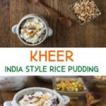 A collage of photos showing kheer and graphic overlays.