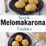 A collage of photos showing melonmakarona cookies on a plate.