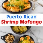 A photo of shrimp mofongo on a black plate with a cilantro garnish.