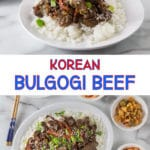 A collage of dishes showing rice with Korean bulgogi beef and text overlays.