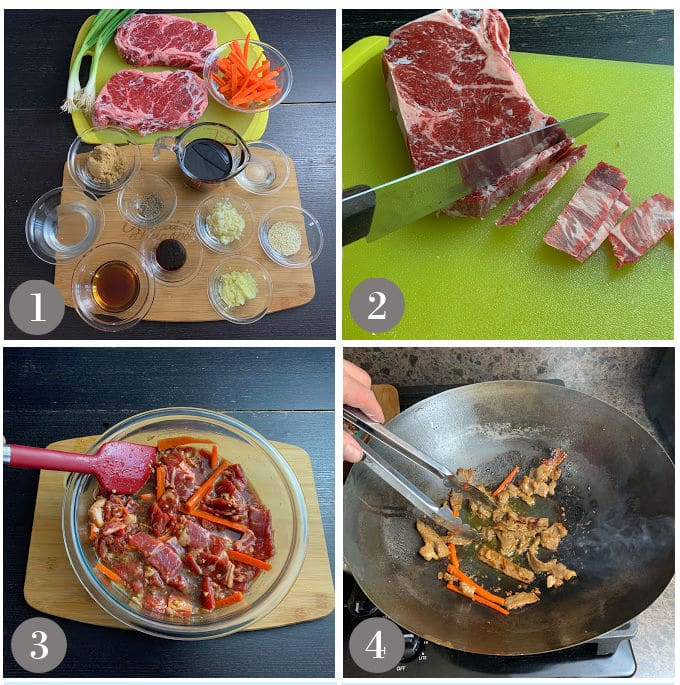 A collage of photos showing the ingredients and steps to make bulgogi beef.