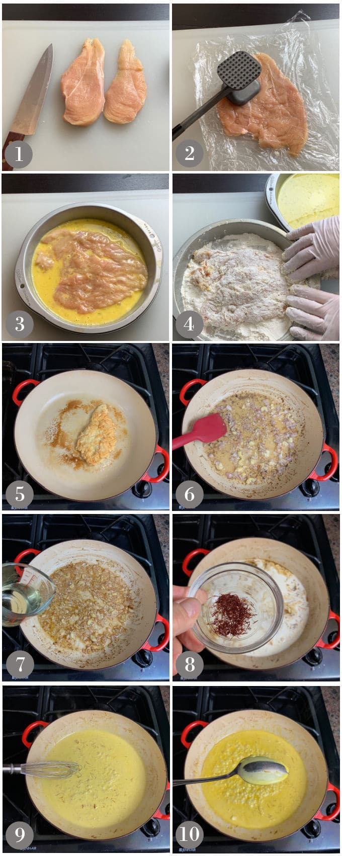 A series of photos showing the steps to make a lightly breaded chicken in creamy saffron sauce.