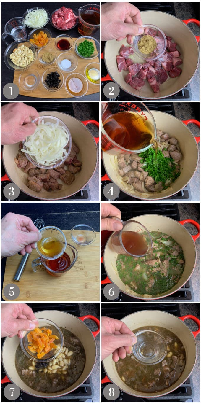 A collage of photos showing the ingredients and steps to make a Turkish style lamb stew in a large pot in a stove.