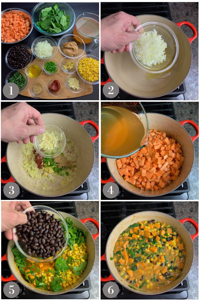 A collage of photos showing the ingredients and steps to make West African peanut stew on a stove in a Dutch oven.