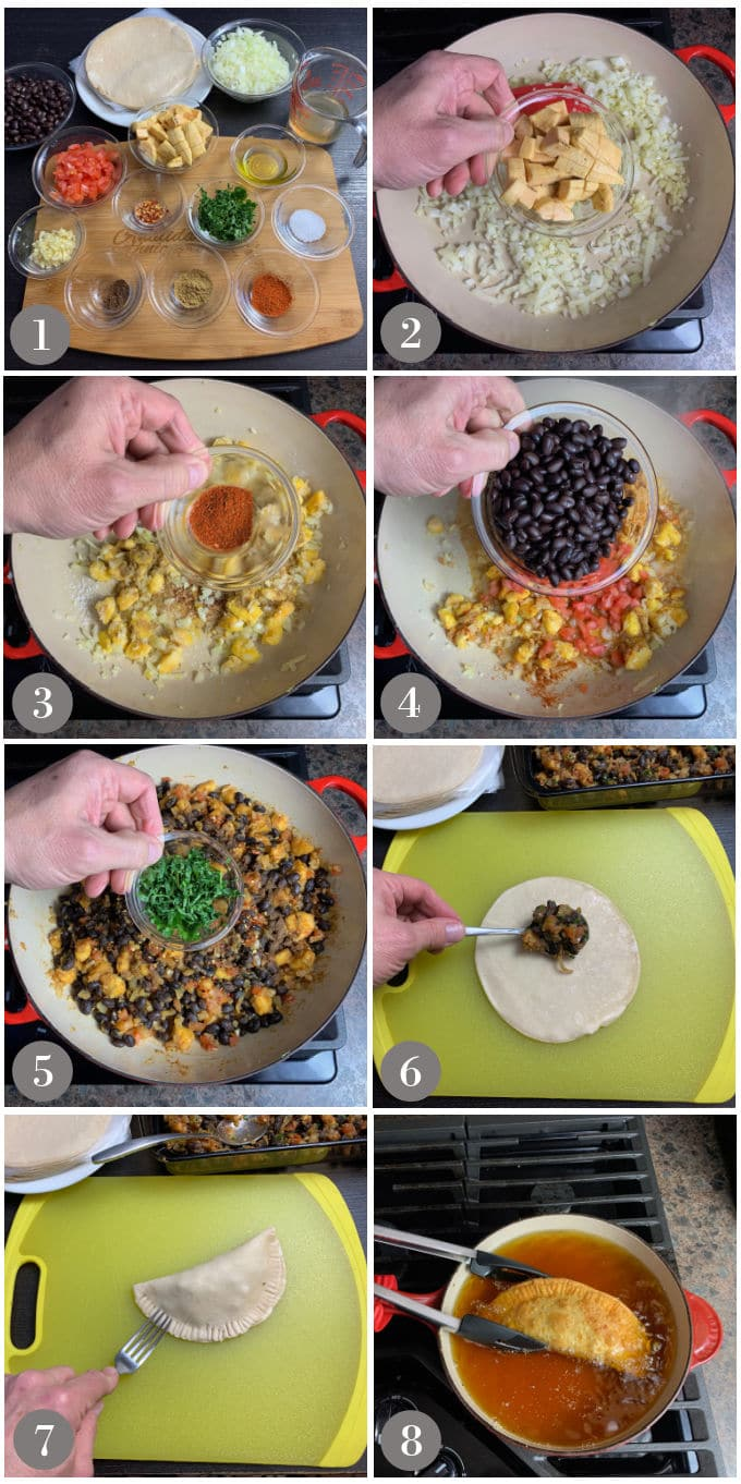 A collage of photos showing the ingredients and steps to make black bean plantain empanadas.