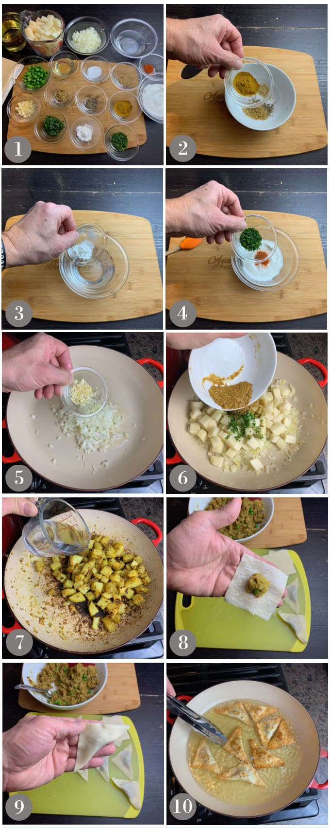 A collage of photos showing the steps to make vegetarian samosas with wonton wrappers.