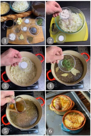 A collage of photos showing the steps to make French onion soup in a pot in a stove.